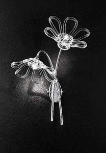 Daisy applique, Wandleuchte mit zwei Lampen und Chrom-Metall-Basis