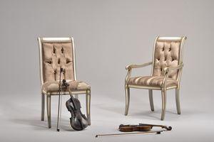 LUCREZIA Stuhl mit Armlehnen 8220A, Klassischer Stuhl in Buche, verschiedene Farben, für das Schlafzimmer