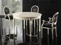 LUIGI XVI ROUND Tisch 8023T, Luxus-Tabelle, in Buche, floralen Schnitzereien an den Beinen