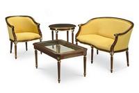 ORNELLA kleinen Tisch 8039T, Couchtisch in Buche, Beine handgefertigt, Glasplatte