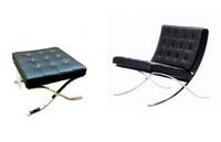 Barcelona, Gesteppt breiten Sessel, Gestell aus verchromtem Stahl