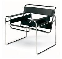 Wassilly, Moderner Stuhl, Stahlrahmen, Sitz und Rückenlehne aus Leder