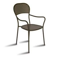 CHF68, Stuhl mit Armlehnen aus verzinktem Stahl, für den Außenbereich