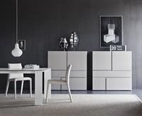 Quadra, Kabinett für Räume mit Schubladen ohne Griffe leben