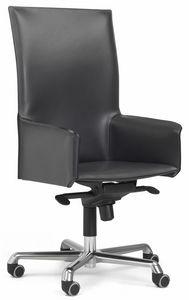 Pasqualina hohe Drehsessel 10.0093, Bürostuhl auf Rollen, mit hoher Rückenlehne