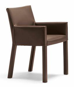 Trama kleiner Sessel 10.0183, Moderner kleiner Sessel mit Lederbezug