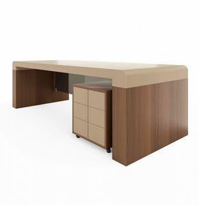 Fusion Schreibtisch 220.S24F, Schreibtisch mit Lederplatte, für Präsidentenbüro