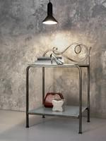 Toledo Nachttisch, Nachttisch aus Metall mit 2 klaren Glasplatten
