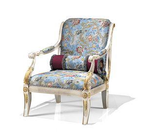 1730/A, Klassischer Sessel mit bedruckter Stoffpolsterung