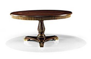 2573/T, Klassischer Holztisch mit rundem Kopfteil