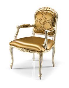1027/A, Gepolsterter Sessel aus geschnitztem Holz