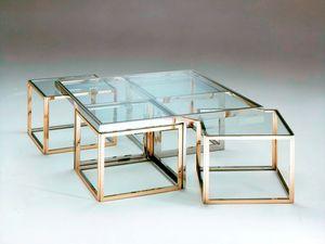 Più , Couchtische aus Edelstahl und Messing, Glasplatte