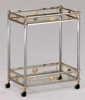 Empire wagen, Warenkorb in Stahl und Messing, aus gehärtetem Glas