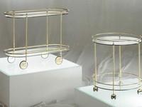 Teseo carrelli, Oval Metall Wagen mit Rädern, Glasplatte