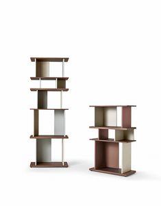 Nelson, Bücherschrank mit Regalen in verschiedenen Höhen, Nussbaumfurnier