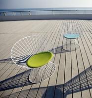Circle C, Außen-Stuhl, Aluminiumrahmen, gepolsterter Sitz