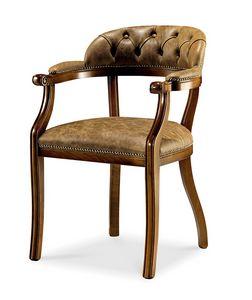 1479V2/A, Stuhl mit Armlehnen, mit Capitonnè-Rückenlehne