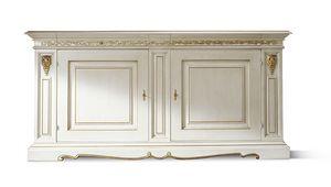 1452LQ, Weiß lackiertes klassisches Sideboard mit Blattgold-Dekoren