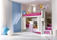 Comp. 306, Schlafzimmer, Holzlatten, verschiedene Farben