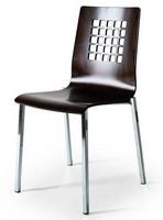 044Q, Stuhl mit Metallgestell, Schale in Buche mit Rücken perforiert