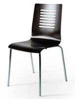 044R, Stuhl aus Metall, Sitz aus Buche, Rücken perforiert