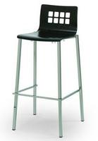 044Q SG, Metallhocker, Sitz aus Buche, Rücken perforiert