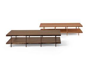 Farnsworth B, Wesentlichen Design kleiner Tisch, in Glas und Holz