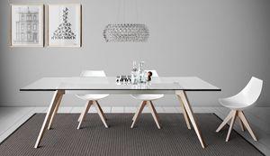 Delta, Esstisch mit Tischplatte aus Marmor, Holz oder Glas