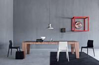 Cartagena, Holztisch mit horizontalen Lamellen, moderner Stil