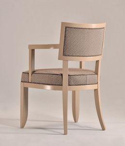 HOLLY Sessel 8381A, Buchenholz Stuhl mit Armlehnen, gepolstert, für Küche