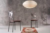 Rondine, Metallstuhl, Sitz Leder, für Bars und Restaurants