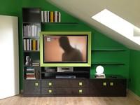 Art. 2830 Clover, Speichereinheit für das Wohnzimmer, Lederrahmen für TV