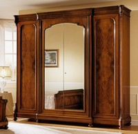D'Este Kleiderschrank, Kabinett in Walnuss, klassischen Luxus, mit Spiegel