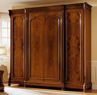 D'Este Kleiderschrank Holz-Tür, Luxus Nussbaum Kleiderschrank mit 4 Türen, Wachs Finish
