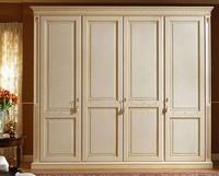 Aries Kleiderschrank, Luxuriöse Lack-Kleiderschrank mit 4 Türen, getäfelte Holz