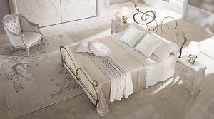 Ghirigori Bett, Doppelbett im Flach gezogen Eisen, lasergeschnittenen Oberflächen