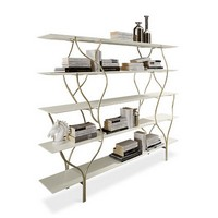 Albero Bücherregal, Bücherregal mit gebogenen Rahmen in Hand poliert Metall