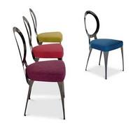 Miss Stuhl, Stuhl mit Eisenrahmen, Sitz gepolstert in Gummi
