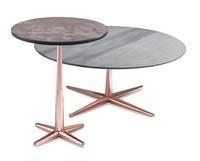 City kleiner Tisch, Couchtisch mit Furnierplatte, Metallsockel