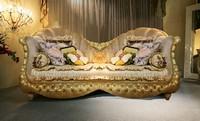 Hollywood, Klassisches Sofa, gepolstert Tufting, geschnitzten Beinen