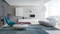 LEAVES LIVING comp. H, Wohnzimmermöbel, lineare Geometrie, dreidimensionale Dekorationen