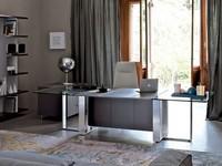 Altagamma executive desk, Büros Tische, Metallrahmen, Holz- und Glasplatte