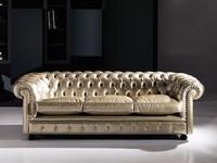 Cester, Klassisches Sofa, getuftet, in Leder, für den öffentlichen Bereich