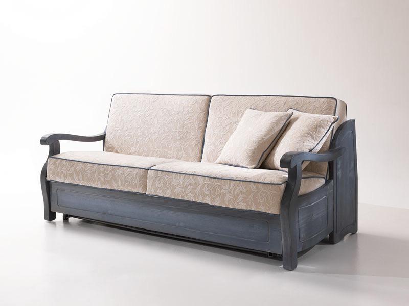 rustikales sofa bett mit holzrahmen im provenzalischen stil idfdesign. Black Bedroom Furniture Sets. Home Design Ideas