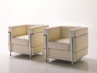 Dora, Bequemen Sessel in Leder, sichtbare Metallstruktur
