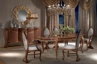 TA51 Vanity, Antiken Esstisch, oval, ausziehbar, Blattgold