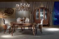 TA52 Vanity, Klassischer Tisch in Holz geschnitzt, Nussbaum gebeizt, Blattgold