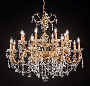 Art. 680/8+8, Luxuriöse Kronleuchter mit Kristall- Dekorationen