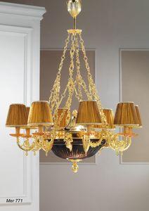 Art. MER 771, Kronleuchter aus vergoldetem Messing und Kristallglas