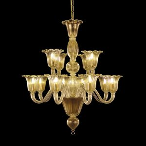 Bellepoque LE0364-8+4-K, Kristall-Kronleuchter mit versetzten Leuchten